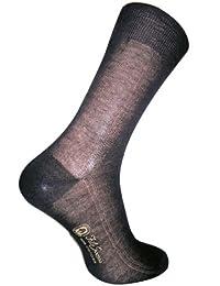 ダニエルジェイコブ(Daniel Jacob) 紳士用ビジネスソックス ブラック6足セット ふくらはぎ丈 サイドパネルデザイン イタリア製 エジプト綿100%  ギフトボックス入り
