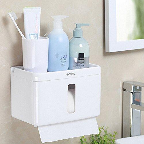 Felimoa トイレ ティッシュ ホルダー トイレット ペーパー ホルダー スマホ・タブレット立てかけ機能付き 小物が置ける 防水 交換簡単 穴あけ不要で取り付け簡単
