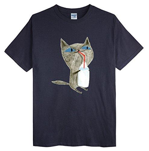 (ゴジラ千) GODZILLASENN メンズプリントトップス 着心地Tシャツにミルクを飲んでいるネコを面白tシャツ 半袖ブラック S