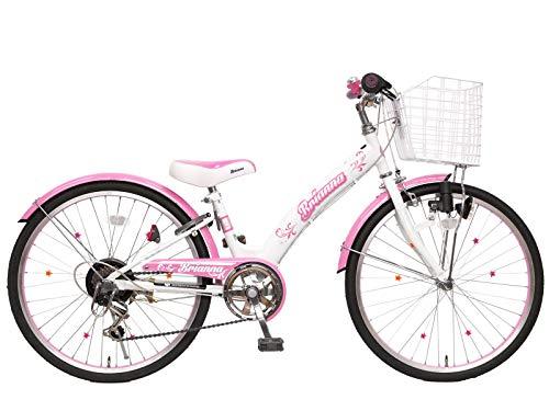 ブリアンナ シマノ6段変速 LEDブロックライト 子供用自転車 キッズサイクル 組み立て式 (ホワイトピンク, 22インチ)