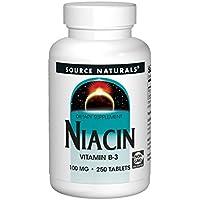 海外直送品Source Naturals Niacin, 250 Tabs 100 MG