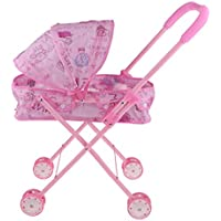 B Blesiya 折り畳み可能 ミニ プッシュカートおもちゃ プッシュチェア模型 赤ちゃんドールのため ふり遊びおもちゃ