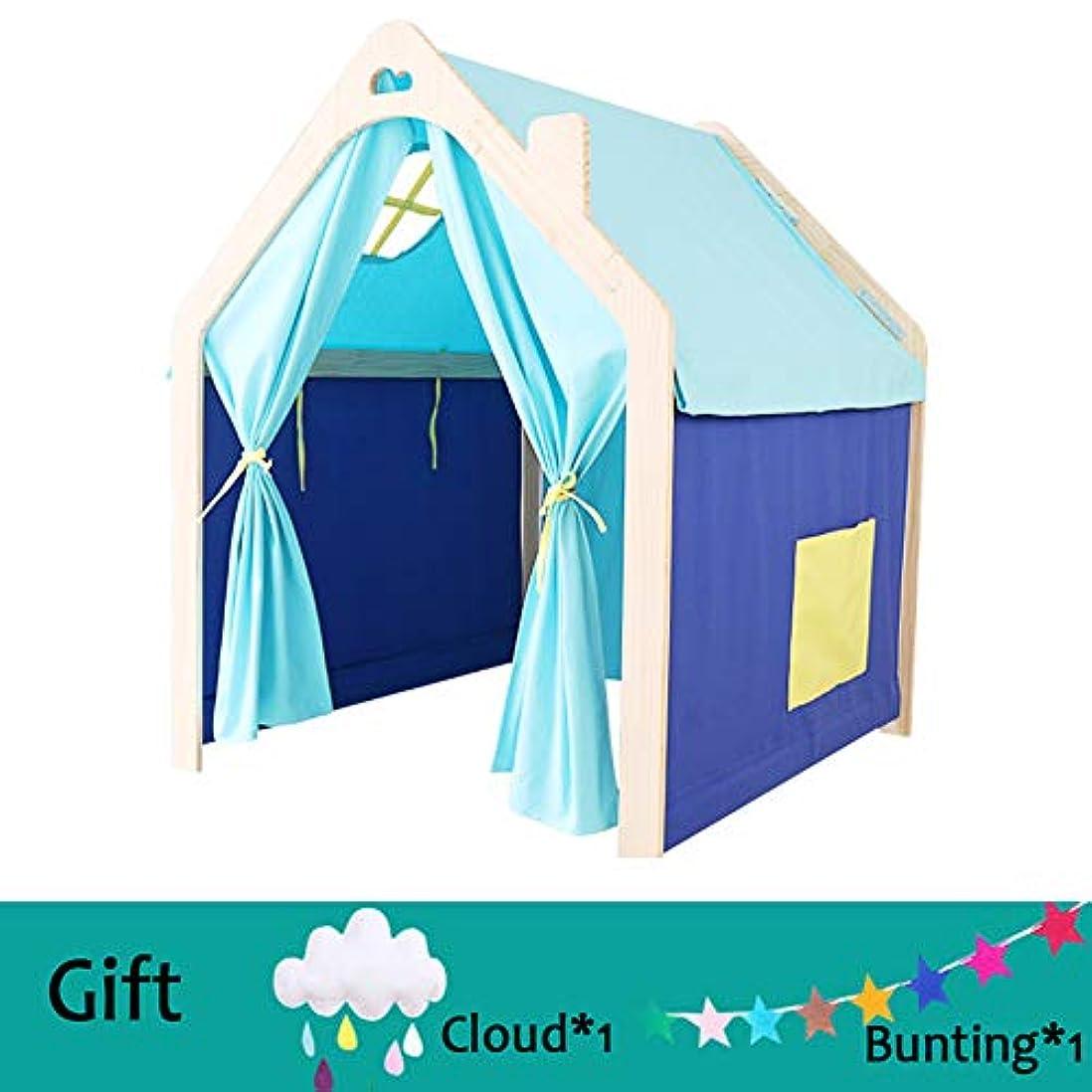 居心地の良いいちゃつく資産子供の小さなテント木造住宅プレイハウス、パインフレーム綿キャンバス快適で通気性、安全な屋内読書コーナー,Blue