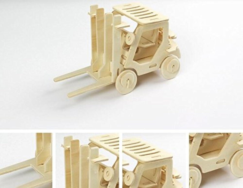 HuaQingPiJu-JP 創造的な木製の3Dパズルアーリーラーニングの形状透明なツール子供のためのおもちゃのファンタスティックギフト(フォークリフト)