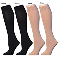 Women's Opaque Plush Fleece Lined Knee High Socks (Pack of 6)
