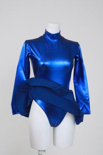 Skirted Leotard blue, shiny metallic long sleeve high neck (AR04)-oversized 100 kg size