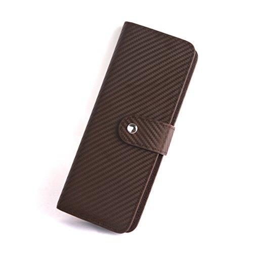 X.A 本革 カードケース 牛革 カーボンレザー カード入れ 名刺 クレジット カードケース 大容量 ファスナー 54ポケット 財布型 (ブラウン)