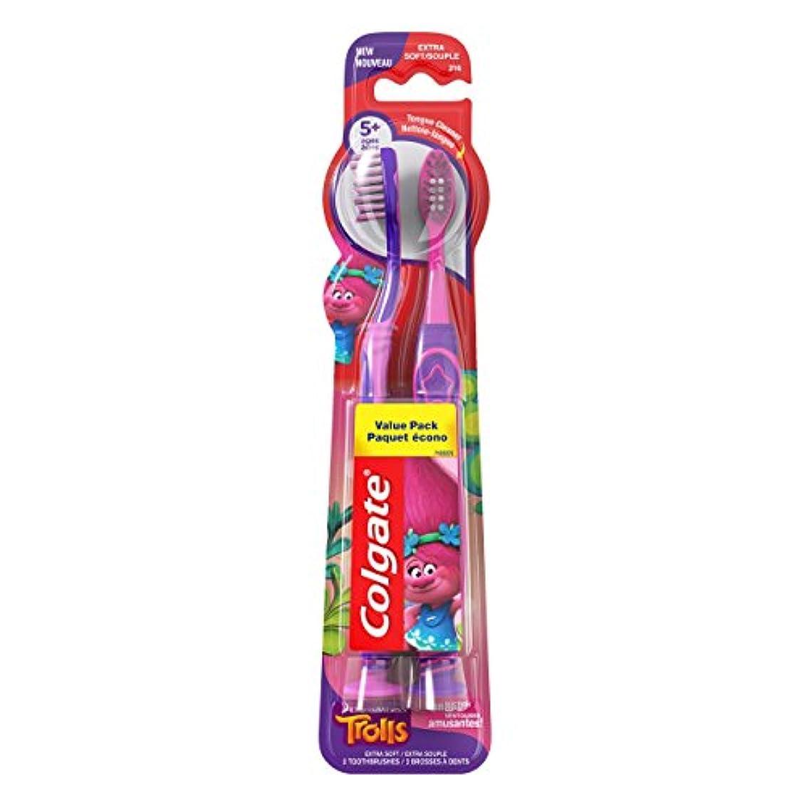 病的女の子遮るColgate キッズ歯ブラシ、トロルバリューパック、エクストラソフト、2カウント