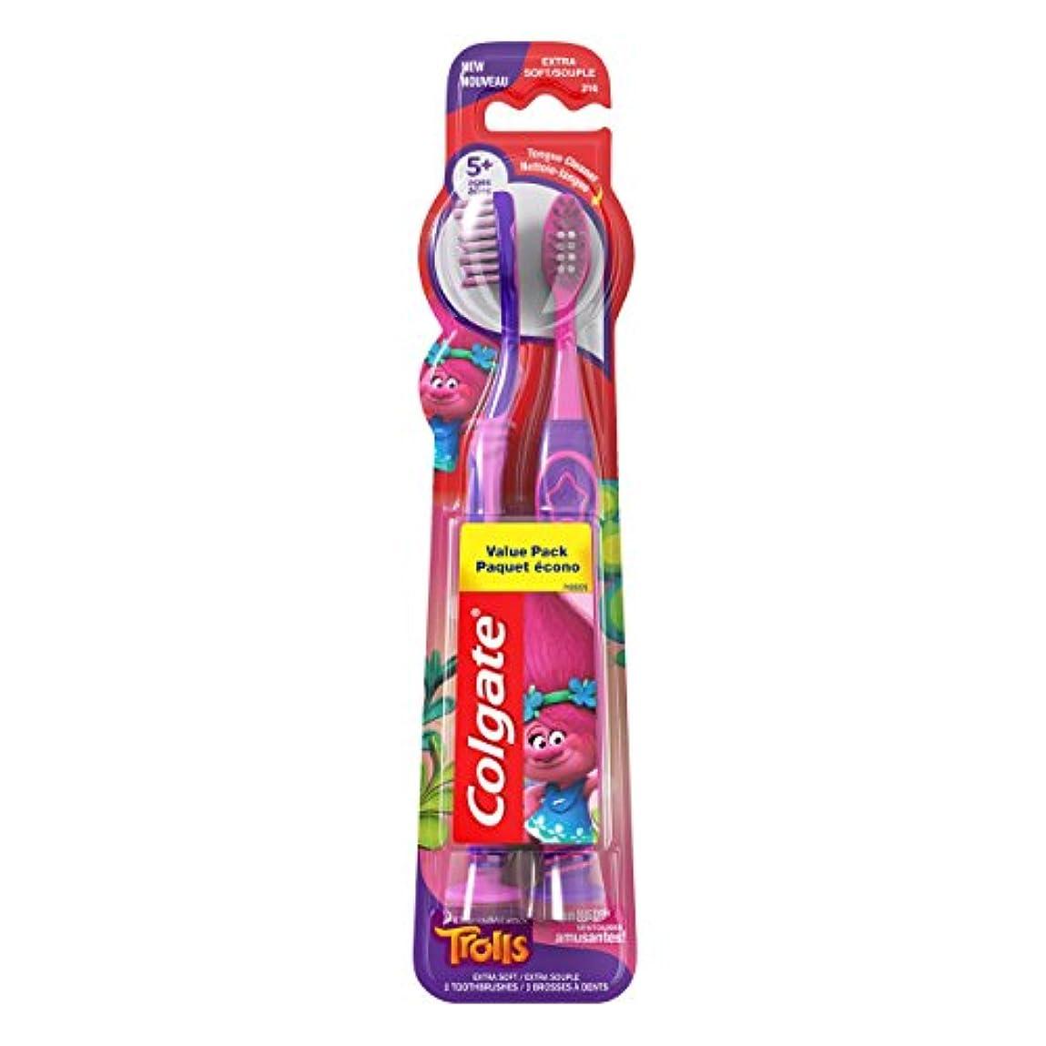 夢名声染色Colgate キッズ歯ブラシ、トロルバリューパック、エクストラソフト、2カウント