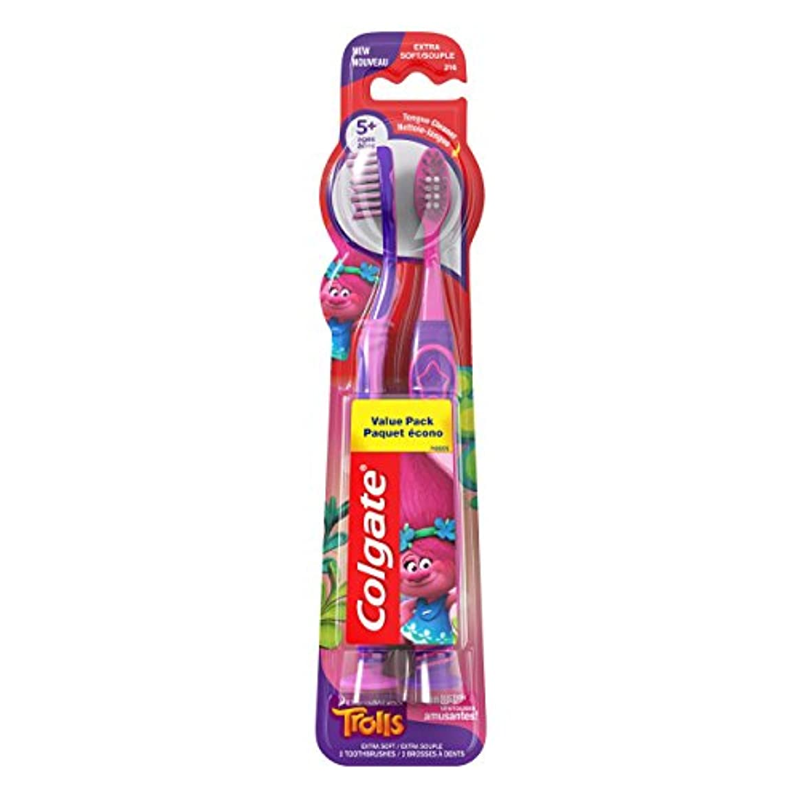 閃光メガロポリス学校の先生Colgate キッズ歯ブラシ、トロルバリューパック、エクストラソフト、2カウント