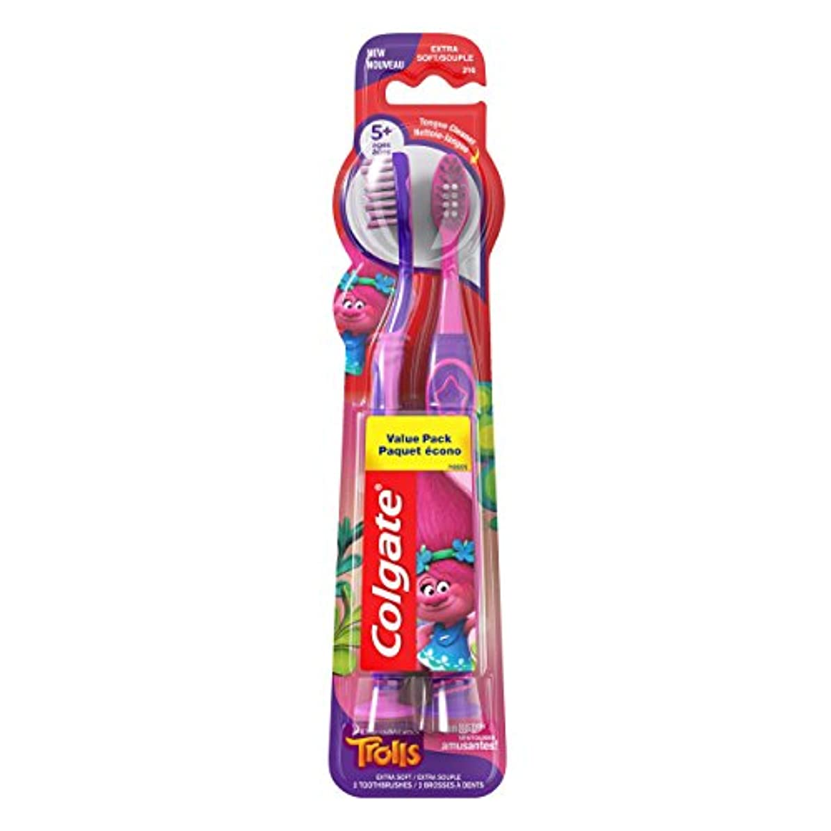 ブーストしたい空いているColgate キッズ歯ブラシ、トロルバリューパック、エクストラソフト、2カウント