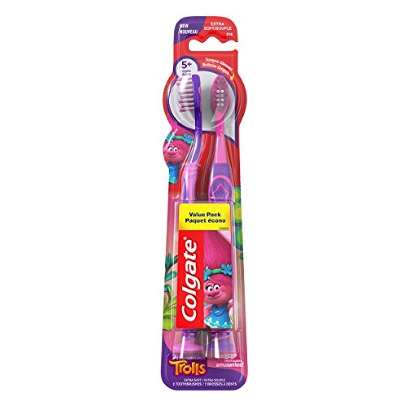 Colgate キッズ歯ブラシ、トロルバリューパック、エクストラソフト、2カウント