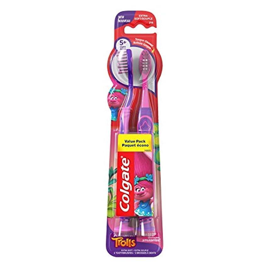 空白二層トラップColgate キッズ歯ブラシ、トロルバリューパック、エクストラソフト、2カウント