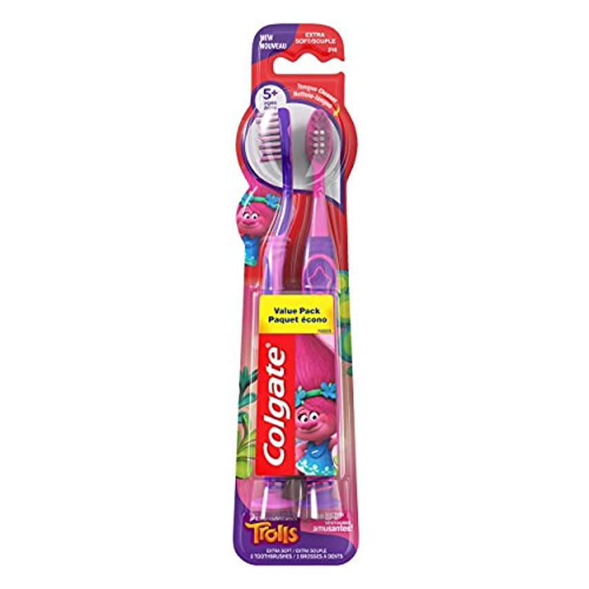 飽和するロマンチックガソリンColgate キッズ歯ブラシ、トロルバリューパック、エクストラソフト、2カウント