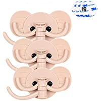 壁掛けフック かわいい象鼻フック 1個に3フック 強力粘着 耐荷重3kg キッチンバスルーム用 壁飾り 収納可能 3個入り ピンク(3枚贈る3M両面ゴム)