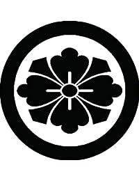 家紋シール 石持ち地抜き剣花菱紋 布タイプ 直径40mm 6枚セット NS4-2002