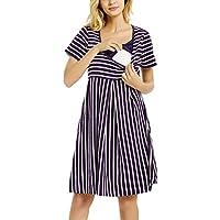 Nursing Dress Maternity Breastfeeding Dress Short Sleeve Knee Length