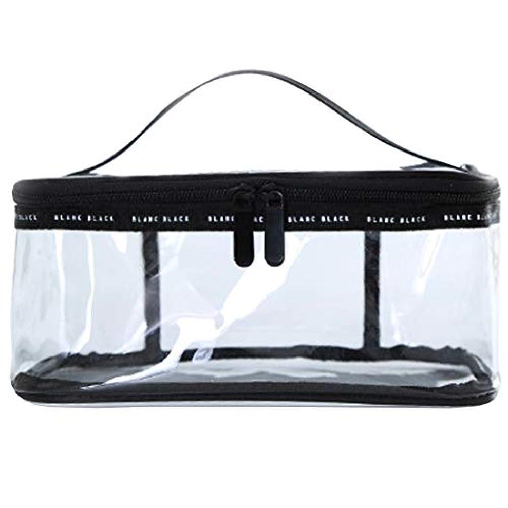 母音消費者広大なクリアボックス コスメ 収納 クリアポーチ 透明ポーチ ビニールポーチ PVC 化粧ポーチ 小物入れ 防水 (L)