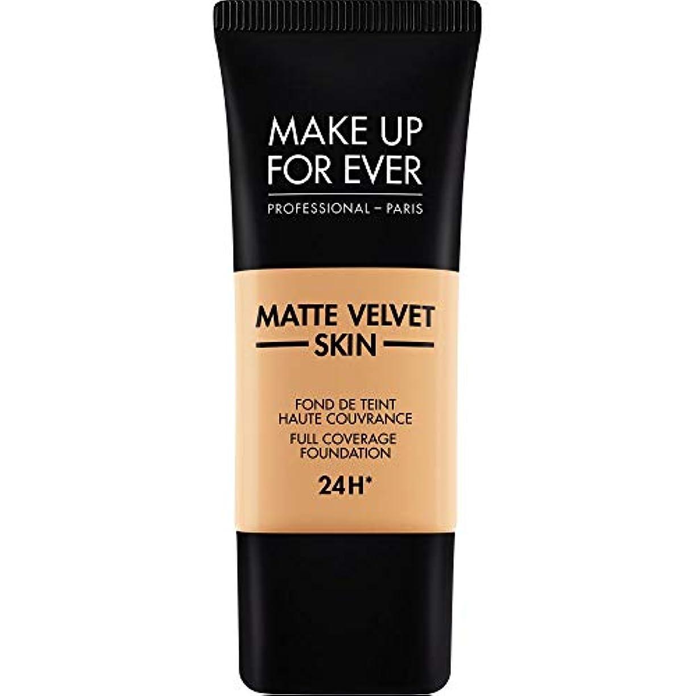 スマイル動機付ける層[MAKE UP FOR EVER ] 黄金の砂 - これまでマットベルベットの皮膚のフルカバレッジ基礎30ミリリットルのY375を補います - MAKE UP FOR EVER Matte Velvet Skin Full...