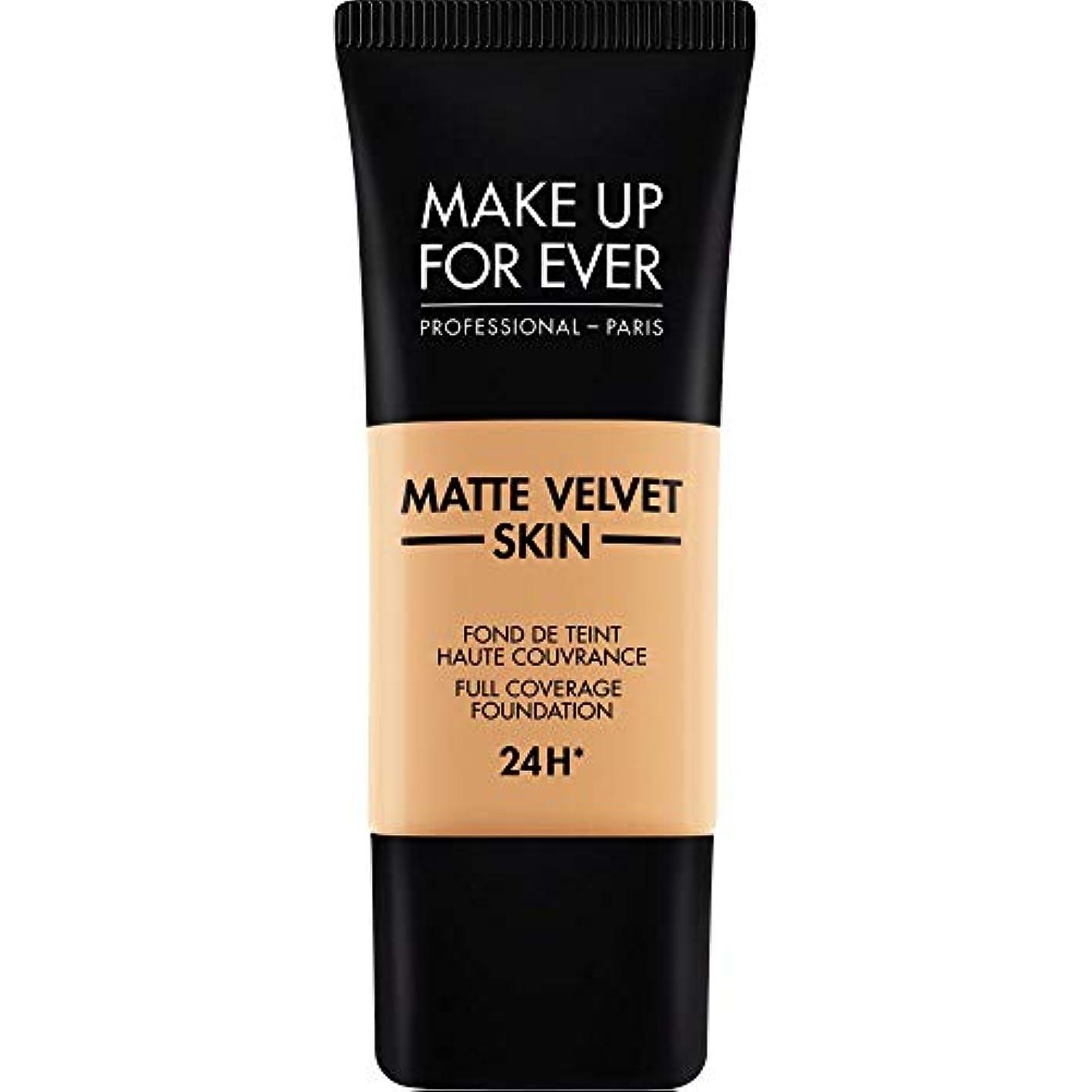 噴出する唇老朽化した[MAKE UP FOR EVER ] 黄金の砂 - これまでマットベルベットの皮膚のフルカバレッジ基礎30ミリリットルのY375を補います - MAKE UP FOR EVER Matte Velvet Skin Full...