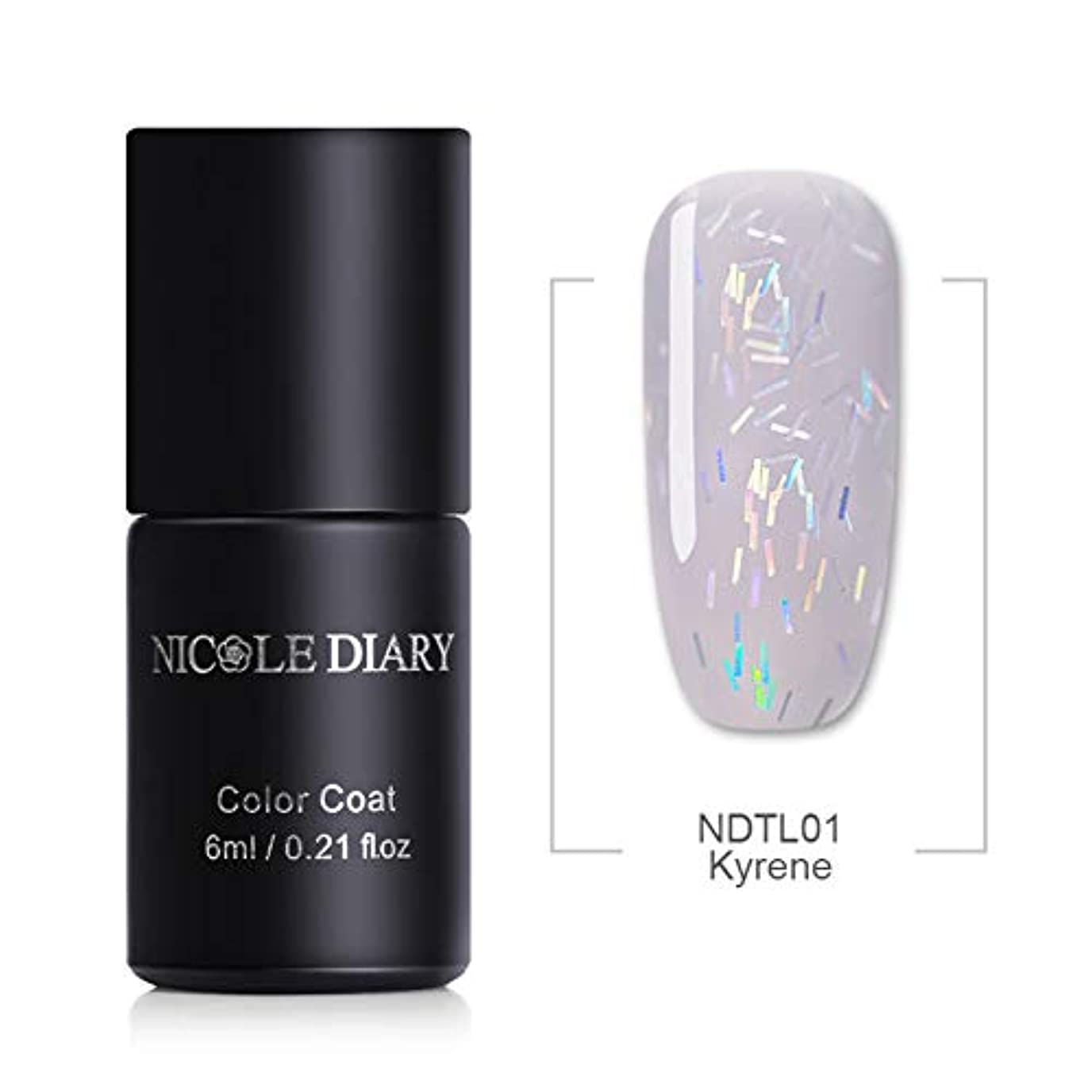 NICOLE DIARY グリッターゼリージェル 透け感 6ml レーザーラメ入り ゼリーのような透明感 UV/LED対応 6色 カラージェル ジェルネイル NDTL01 Kyrene [並行輸入品]
