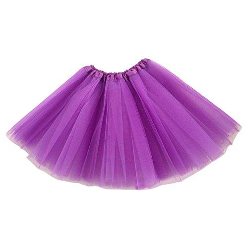 「OQC」TUTUチュチュスカート レディース 大人用 カラフル フリフリ 3層チュールスカート レディース 舞台衣装 全18色!「パープル」
