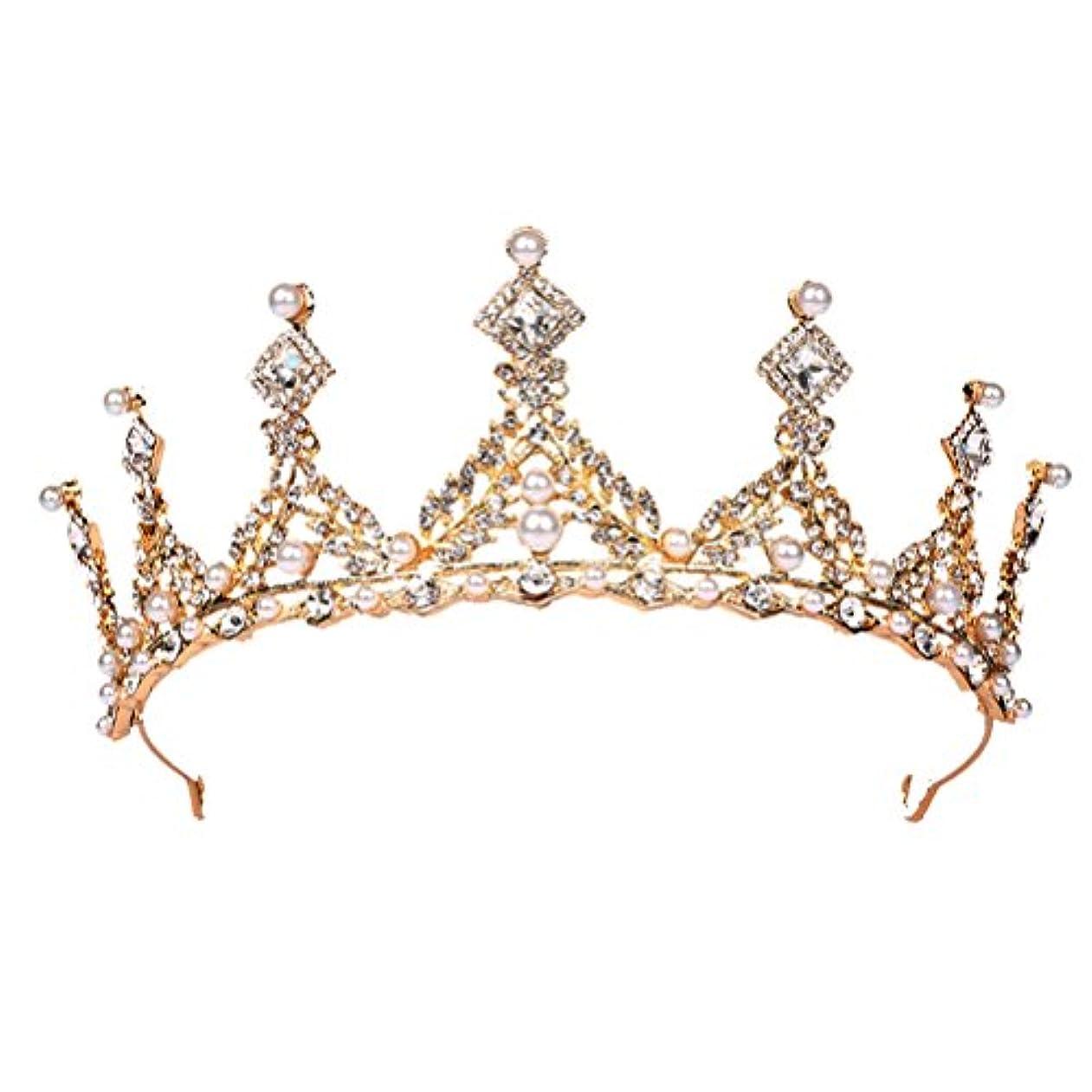 救出返還推定FENICAL ブライダル ティアラ ヘアバンド 花嫁 結婚式 ウェディング 王冠 クラウン クリスタル 髪飾り ヘアアクセサリー(ゴールデン)