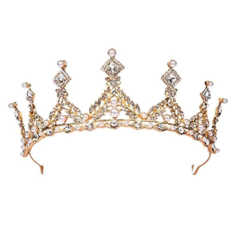コンプリート服命令的FENICAL ブライダル ティアラ ヘアバンド 花嫁 結婚式 ウェディング 王冠 クラウン クリスタル 髪飾り ヘアアクセサリー(ゴールデン)