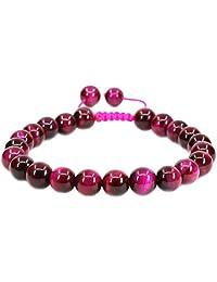Handmade Gemstone 8mm Round Beads Adjustable Braided Macrame Tassels Chakra Reiki Bracelets 7-9 inch Unisex