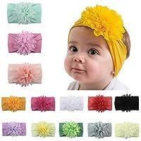 Baby Girl Headbands and bows,12 Pack Nylon Turban Round Knot Headband for Newborn Toddler Infant Girls