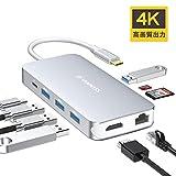 USB C ハブ VANMASS usb type c ハブ 9-IN-1 hub 4K HDMI出力 90W充電PD 1000Mbps 有線LAN USB3.O 高速データ転送 持ち運びに便利 増設拡張 変換アダプター HDMI出力ポート LANポート Micro SD/SDカード Type-C(PD)ポート USB 3.0ポート*4 MacBook/pro、ChromeBook対応