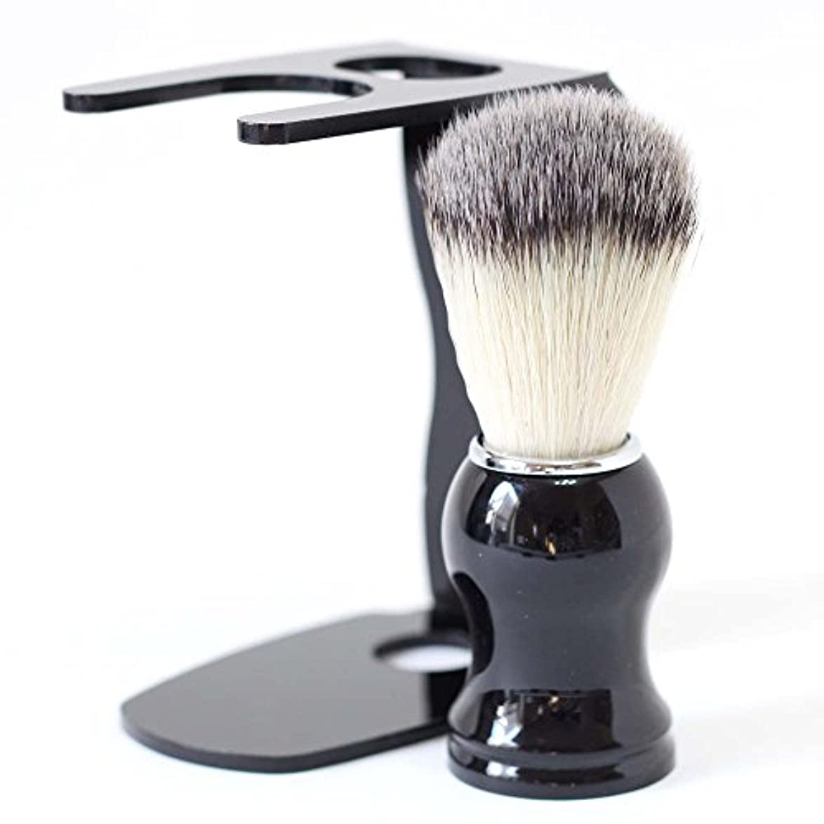 眠っている星シャーク【Barsado】泡立ちが違う 100% アナグマ 毛 シェービング ブラシ スタンド付き/理容 洗顔 髭剃り マッサージ 効果