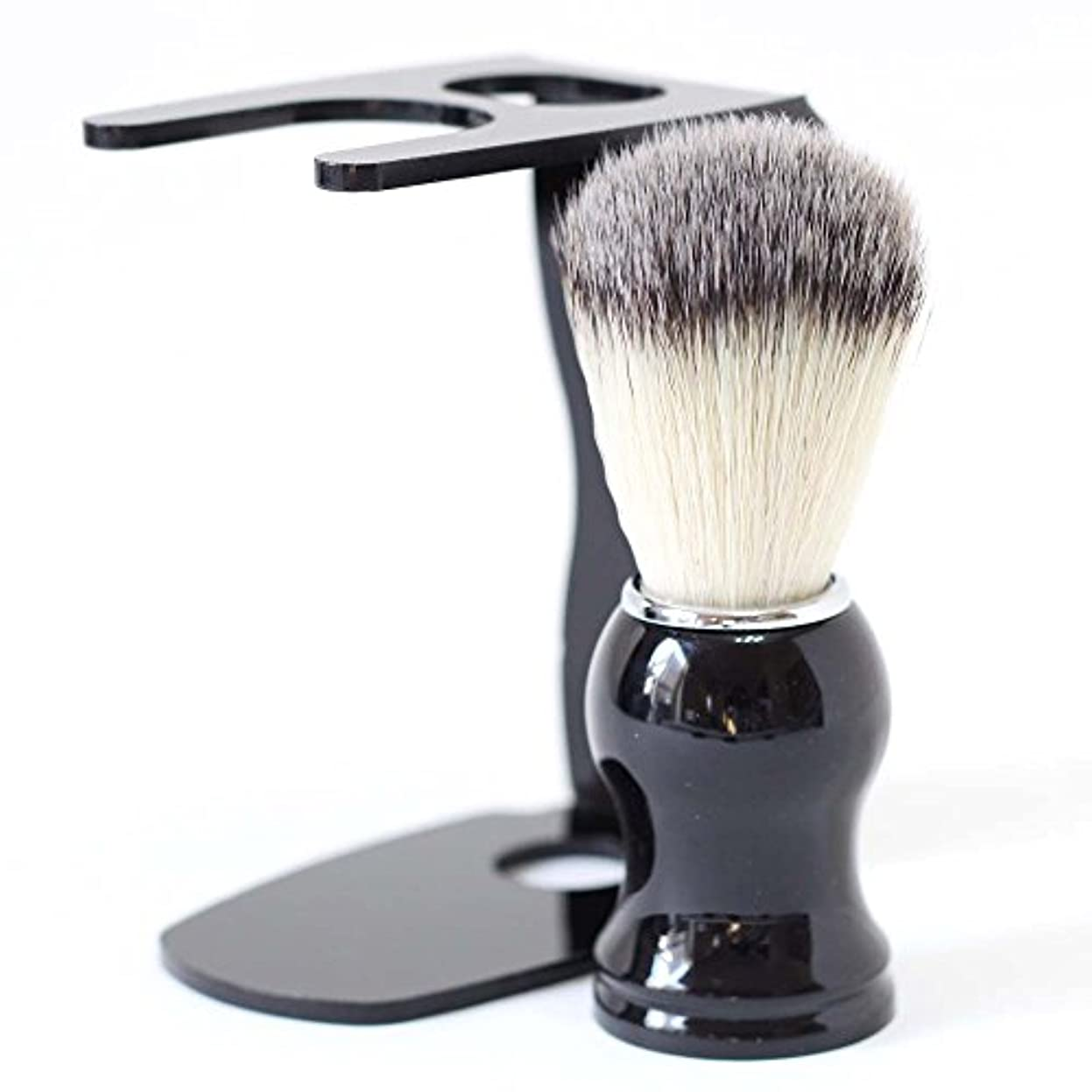 居住者力学椅子【Barsado】泡立ちが違う 100% アナグマ 毛 シェービング ブラシ スタンド付き/理容 洗顔 髭剃り マッサージ 効果