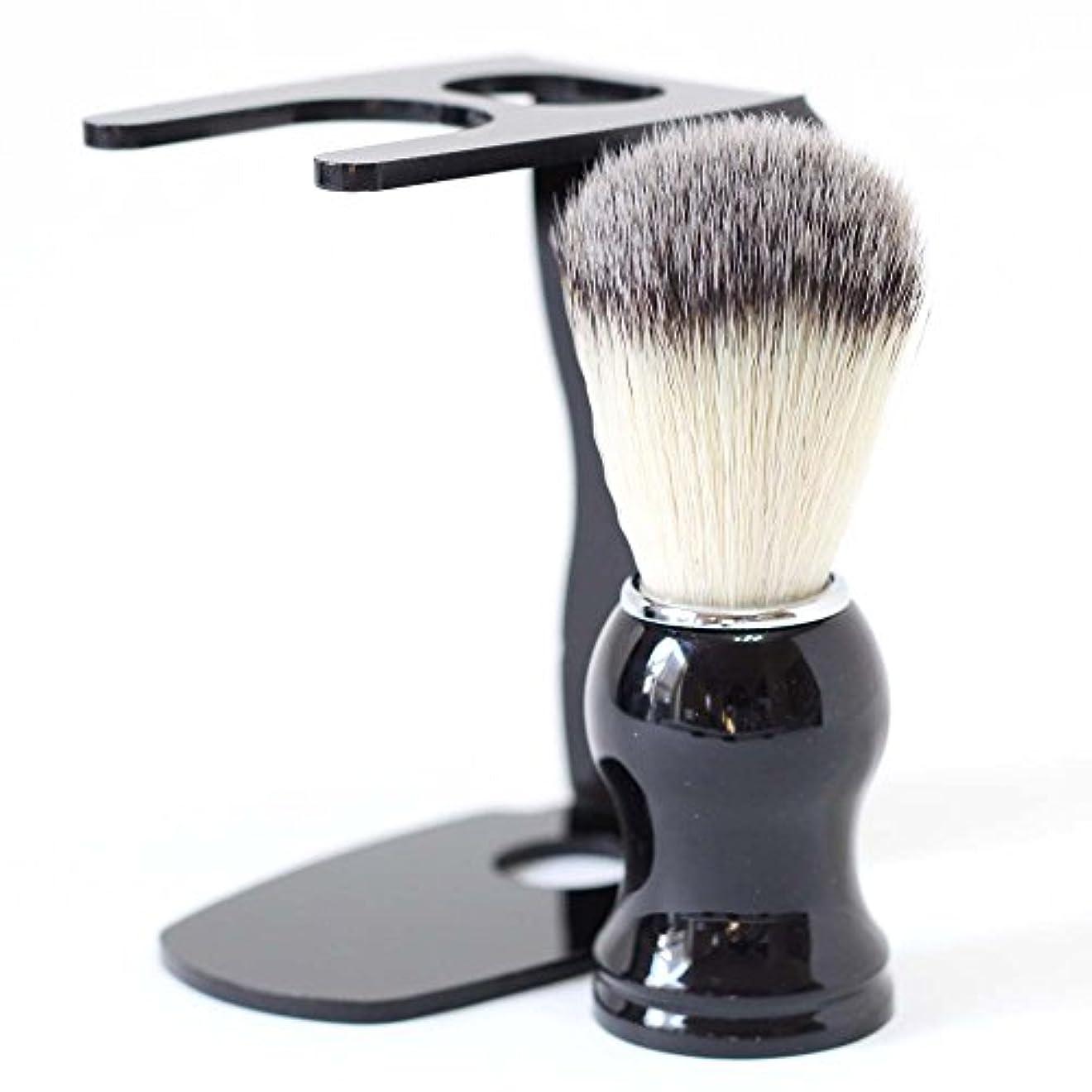 ボート地獄小石【Barsado】泡立ちが違う 100% アナグマ 毛 シェービング ブラシ スタンド付き/理容 洗顔 髭剃り マッサージ 効果