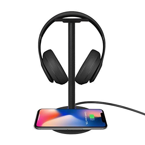 [해외]J-KONKY 다기능 QI 무선 충전기 헤드폰 스탠드 두는 것만으로 충전 패드 조립식 수납 및 보관 헤드셋 홀더 대응 기종 iPhoneX | iPhone8 | iPhone8 Plus | Galaxy S7 | S7 Edge~ Nexus 4|5|6|7 (제 2 /J-KONKY Multifunctional QI Wireless Charger ...