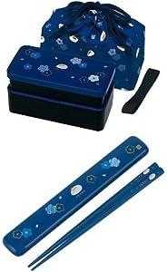 【セット買い】松花堂 弁当箱 640ml 巾着付 + 塗り箸 箸箱セット 18cm ふくうさぎ 紺