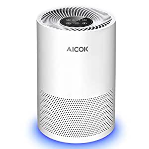 Aicok 空気清浄機 空気清浄器 タバコ 花粉 脱臭 殺菌 ホコリ除去 タイマー&呼吸ランプ付 チャイルドロック機能 3段階風量設定 省エネ 静音 適用面積14畳 HEPAフィルター EPI130A
