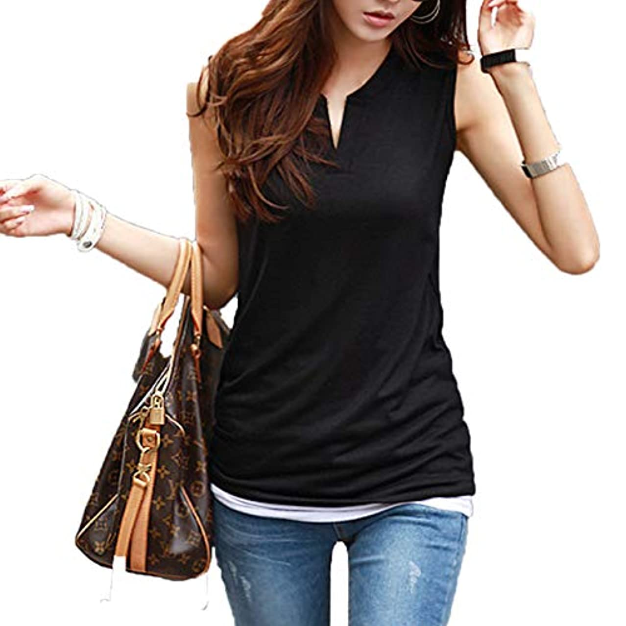 鮮やかなステップ有利[ココチエ] 夏 Tシャツ プルオーバー レディース ブラウス ノースリーブ 半袖 V コットン 白 かっこいい かわいい おしゃれ