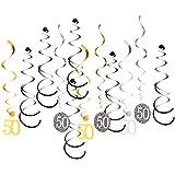 FLAMEER 12枚セット 渦巻きバナー ナンバー 誕生日パーティー 記念日 4仕様選べ - 50