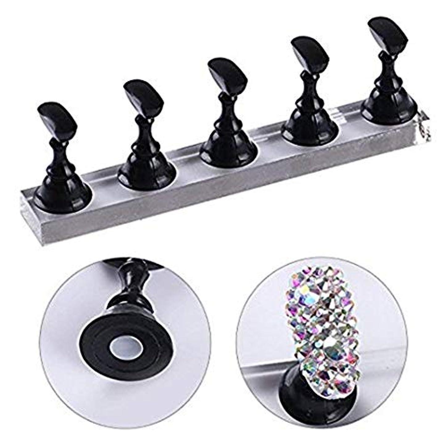 お風呂を持っているポール窒素ネイルチップディスプレイスタンドセット ネイルチップホルダー ネイルアート用品サロン用品 磁気 ネイルアート 5本セット (ブラック)
