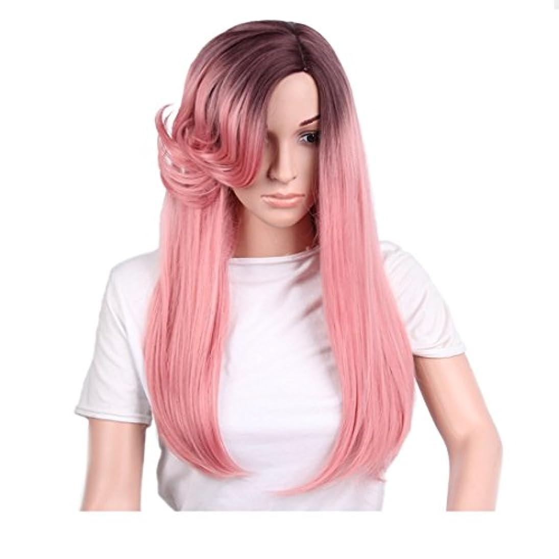 ちっちゃいちらつき幻想的JIANFU 女性のための26インチの化学繊維の毛のかつらロングストレートナチュラルグラデーションの色はコスプレ/パーティーのロングロールバンズウィッグとピンクのかつらをローズ (Design : Rose pink1)