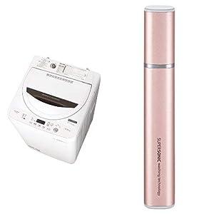 シャープ 全自動洗濯機 ステンレス槽 4.5kg ホワイト系 ES-GA4B-W 超音波ウォッシャー ピンク系 セット