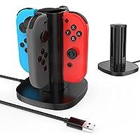 GameWill Nintendo Switch Joy-Con充電スタンド 急速充電スタンド 4台同時充電可能 充電指示ランプ付き USBケーブル内蔵 (ブラック)