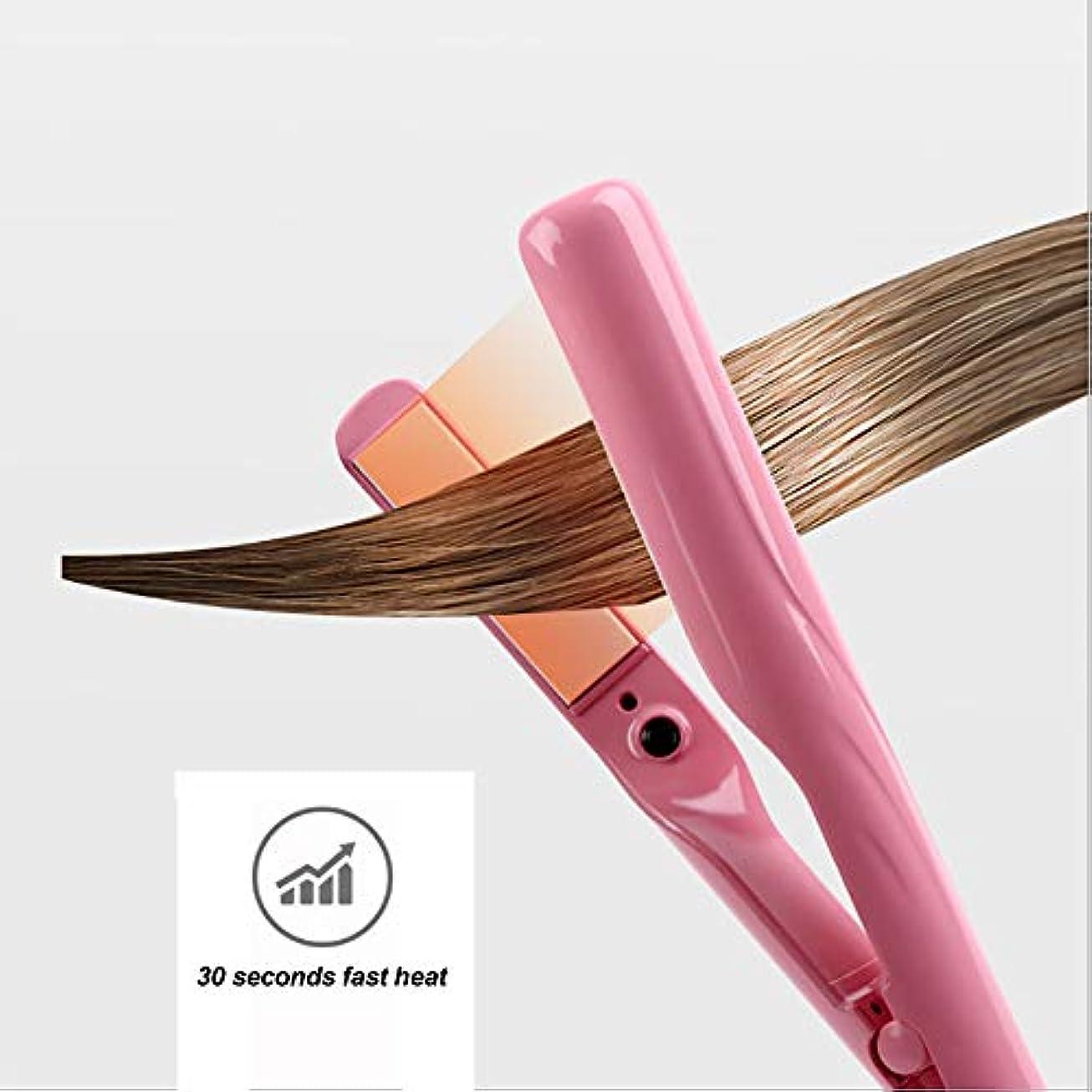 メロドラマメドレー受け入れるフラットアイアン1インチプレート調節可能な温度のプロフェッショナルストレートヘアアイロンで髪を光沢のある絹のような発熱体に仕上げますデュアル電圧ローズピンク