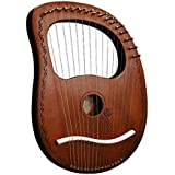 JVSISM Lyre Harp 16 Strings Harp Portable Small Harp with Durable Steel Strings Wood String Musical Instrument,Coffee Color
