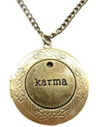 KarmaロケットネックレスKarma Jewellery WordネックレスKarmaチャームロケットネックレス