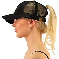 VAYA Ponycap Messy High Bun Ponytail Adjustable Mesh Trucker Baseball Cap Hat