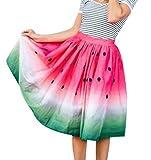 女性の夏のスイカ多色ドットプリントミディスカート (M, A)