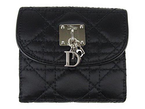 [クリスチャン・ディオール] Dior Wホック財布 財布 ブラック 牛革(カーフ) x ナイロン [中古]