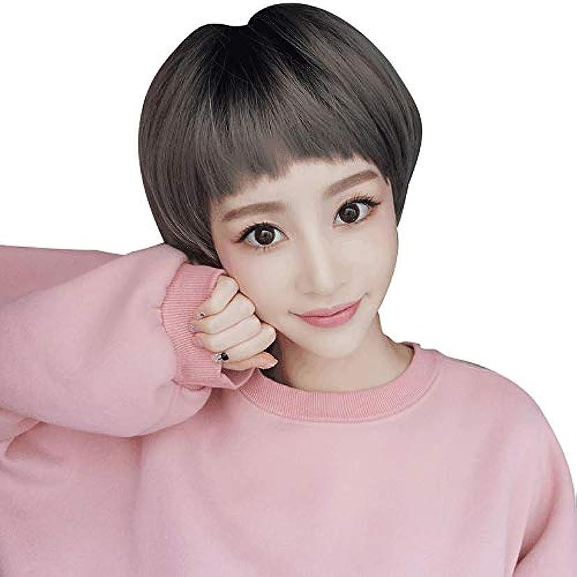 SRY-Wigファッション 女性ナチュラルファッションブラウンブラックラタンリネングレーウィッグと大韓航空前髪合成ショートボブウィッグ